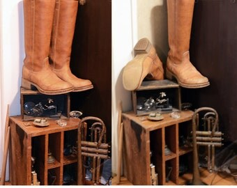 vintage 70s Dingo tan leather knee high boots Frye stack heel cowboy western southwestern boho hippie ORIGINAL BOX distressed w US shipping