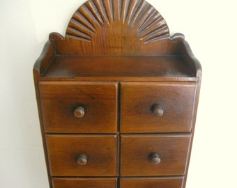 Primitive Spice Box with Hand Carved Fan & 7 Drawers Antique Rack Cabinet Apothecary