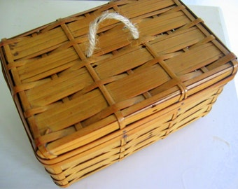 Small Antique Child's Bamboo Picnic Basket or Sewing Basket