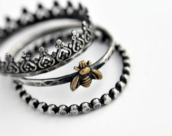 Queen bee sterling silver stacking rings - set of three - bee stacking ring - crown stacking ring - dotted stacking ring - mixed metals