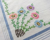 Vintage Table Topper with Hand Embroidered Flowers