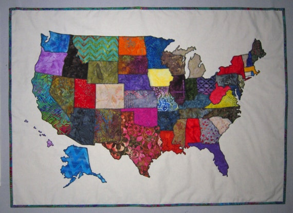 USA PATCHWORK MAP Quilt Pattern From Quilts By Elena Full - Us map quilt tutorial