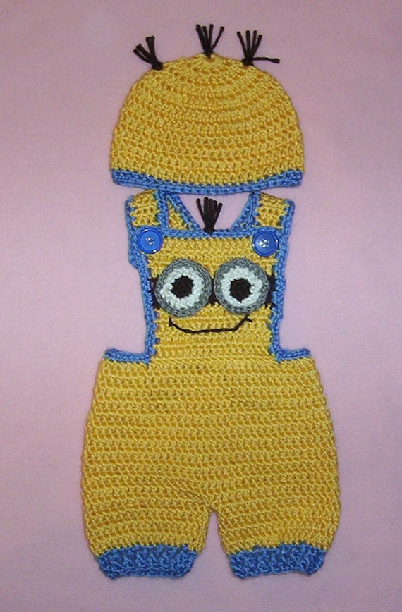 Free Crochet Pattern For Minion Hat And Overalls : Crochet Yellow & Blue Minion Shorts Overalls by lonewolfer54