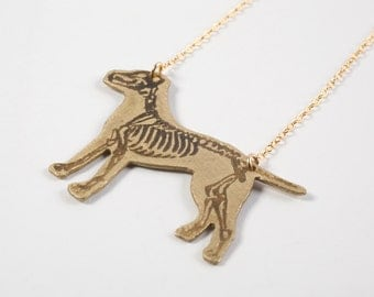 Pitbull Necklace - Dog Necklace - Dog Jewelry - Dog Skeleton - Dog Gift - Skeleton Jewelry - Veterinarian Gift - Proceeds to Charity
