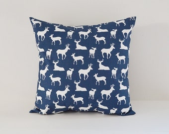 Deer Silhouette Pillow Deer Pillows Navy Blue Pillow Cabin Decor Cushion Covers Camping Decor Woodland Pillow