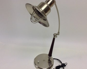 Vintage Industrial Metal Desk Lamp with telephone Jack