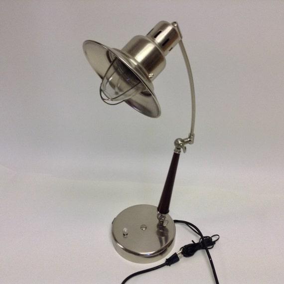 vintage industrial metal desk lamp with telephone jack. Black Bedroom Furniture Sets. Home Design Ideas