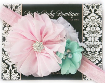 Pink and Mint Baby Girl Headband - Mint and Pink Trio On A Stretch Headband - Infant Headband  -Cake Smash Headband - Photo Prop