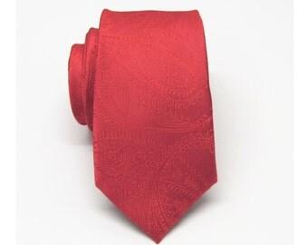 Mens Ties. Red Paisley Skinny Necktie.