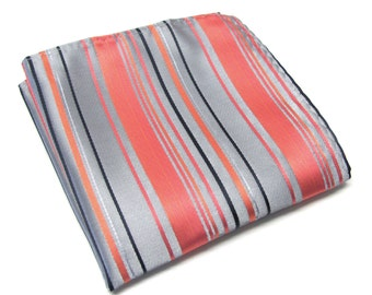 Pocket Square Gray and Coral Stripes Hankie