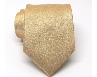 Mens Ties. Necktie Lamé Gold Metallic Tie with Matching Pocket Square Set