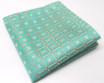 Pocket Square Mint Green Flower Checkers Hankie
