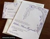Obi Letterpress or Digital Wedding Invitations - Set of 100