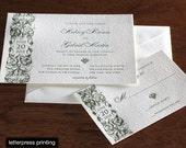 Aubrey Letterpress or Digital Wedding Invitations - Set of 100