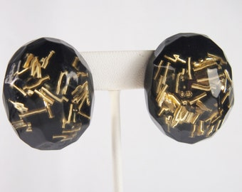 Lucite Plastic Large Faceted Egg Shaped Plastic Earrings Vintage 80s Jewelry