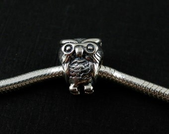 European Charm, Jewelry Findings,Wholesale,Sterling Silver Charm,Bead .925 Sterling Silver Wise Owl Charm Bracelet Bead SKU: 220024