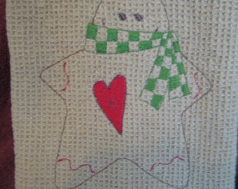 Waffle Weave Towel with Gingerbread Man