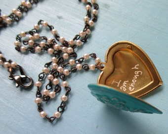 I am enough..  quote locket on vintage pearls necklace delicate pearl chain