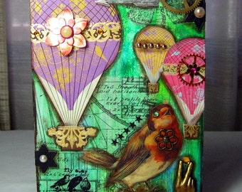 Mixed Media Collage on Plywood Frame Birds and Hot Air Balloons