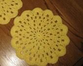 Yellow Crochet Dishcloth set of 2