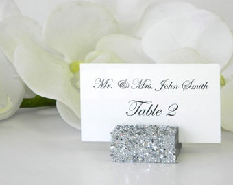 Silver Place Card Holder + Silver Wedding +  Silver Glitter Place Card Holder (Set of 100)