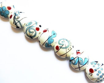 SOUTHWEST meets FAR EAST    7 ivory, turquoise, black and red lentils   A Beaded Gift