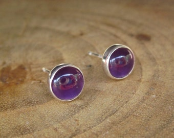 Handmade Amethyst February Birthstone Sterling Silver Studs Post Earrings 6mm