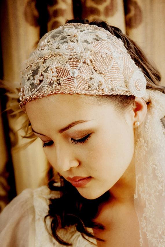 Bridal beaded cap veil tied cap veil ADELLE - vintage wedding
