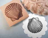 Seashell // Scallop Shell Rubber Stamp - Handmade by BlossomStamps