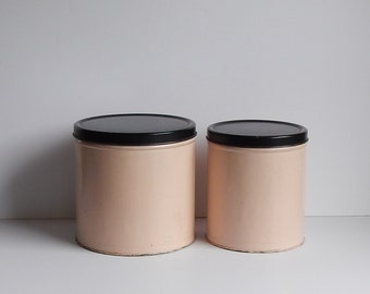 Vintage Pink Tin Canisters with Black Lids, by Empeco