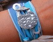 Beach Jewelry, Beach Wrap, Beach Bracelet, Beachy Silk Wrap Bracelet, Sterling Silver Ocean Waves by HappyGoLicky
