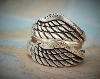 Handmade Wedding Rings, Wedding Bands, Sterling Silver Wedding Ring Pair, Wedding Ring Set, Angel Wings Jewelry, Angel Wings Ring Set