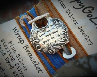 INSPIRATIONAL Jewelry, Inspirational Bracelet, Custom Silk Wrap Bracelet, Sterling Silver Personalized Jewelry, Your Own Quote Bracelet