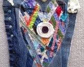 Heart textile art wallhanging by Lisa mixed media art piece