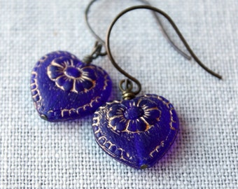 Blue Heart Earrings, Cobalt Blue, Victorian Hearts, Valentine, Drop Earrings, Gold Floral Inlay,Wedding