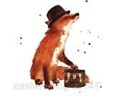 Watercolor FOX print, ready to frame, 8x10 print, art for kids, animal print