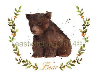 WOODLAND Bear  Print, woodland nursery art