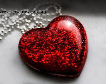 Statement Necklace - Large Red Glitter Heart, ruby red, unique statement jewelry for her by isewcute
