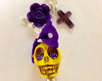 Rockabilly Lolita Giant Skull Day of the Dead Key Hook Ring with Purple Accents
