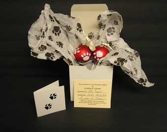 Pet Paws Hand Painted Christmas Ornaments for YOUR PETS TREE