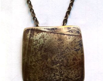 Rustic Textured Brass Pendant Necklace