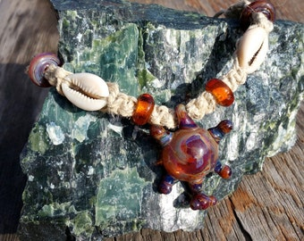 Hemp Necklace Choker With Glass Turtle Pendant Beads and Cowrie Shells