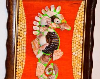 "Sea Horse seashell original nautical mosaic with wood professional frame, wall decor 10"" x 12"" x 0.7""."