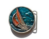 Sailboat Enameled Belt Buckle Round Bergamot  Z-39 dated 1977