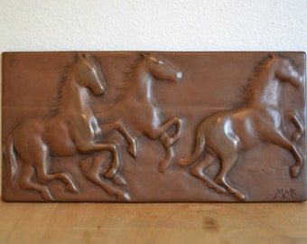 Bronze Galloping Horses Bas Relief Wall Art Tile 6 x 12