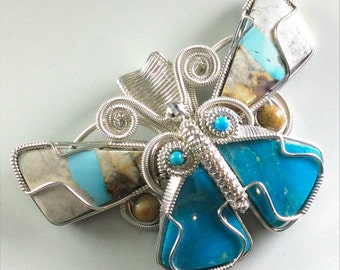 Ribbon Turquoise Butterfly Pendant - N-0232