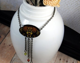stained glass owl  necklace, fringe necklace ,resin necklace , gifts under 25, gifts for her