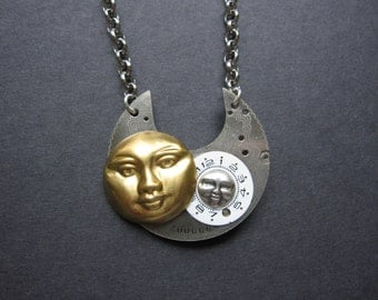 Steampunk, Sun and Moon,  Mother and Daugher, Mother and Son, Time, Vintage Watch Part, Watch Face, Silver, Brass, Edwardian