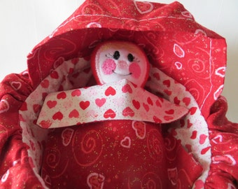 Cotton Cradle Purse with Baby Doll and Matching Blanket Red Hearts