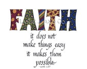 Calligraphy Faith Scripture Quote Print, Luke 1:37, 8-1/2 x 11  Illustration and Calligraphy